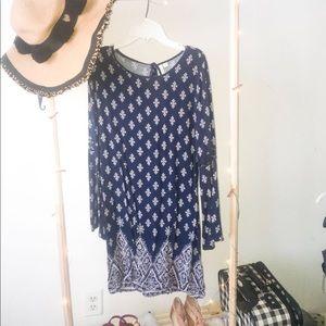Bohemian blue print casual dress